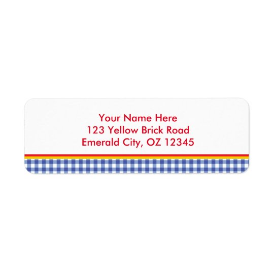 Oz Blue Gingham Birthday Party Address Labels