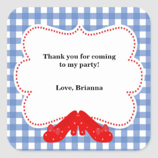 Oz Gingham Birthday Party Favor Sticker Labels