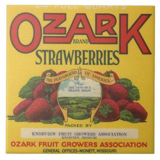 Ozark Strawberry Crate Label Large Square Tile