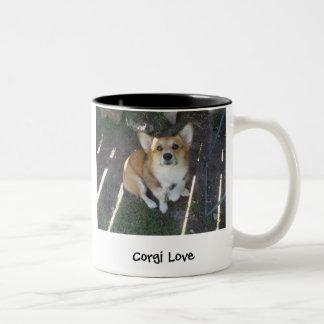 P1010220, Corgi Love, Corgi lovePhotography by ... Two-Tone Coffee Mug