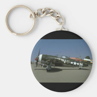 P47, Left View._WWII Planes Basic Round Button Key Ring