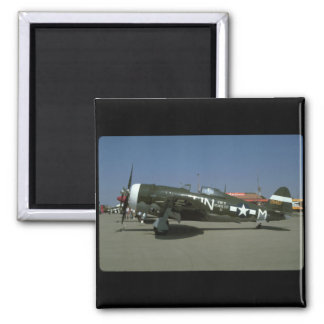 P47, Left View._WWII Planes Square Magnet
