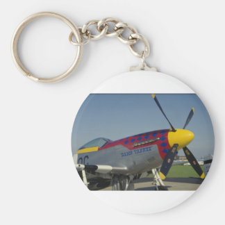 P51 Mustang, nose cone/propeller showing nose art Basic Round Button Key Ring