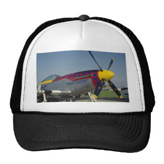 P51 Mustang, nose cone/propeller showing nose art Mesh Hat