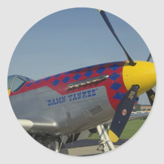 P51 Mustang, nose cone/propeller showing nose art Round Stickers