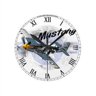 P51 Mustang Round Clock