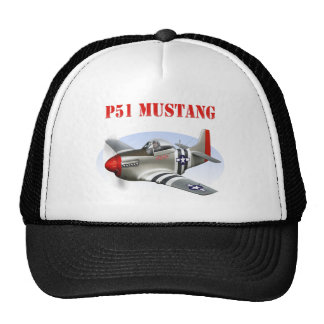 P51 Mustang Silver-Red Plane Cap