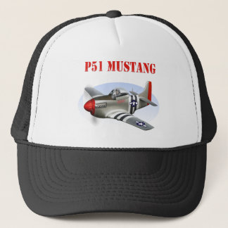P51 Mustang Silver-Red Plane Trucker Hat