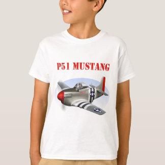 P51 Mustang Silver-Red Plane Tshirt