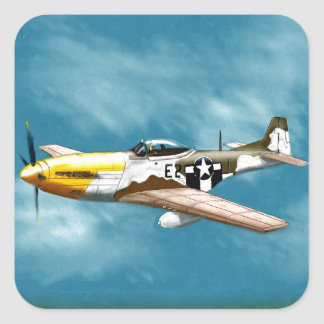 P51D Mustang Fighter Square Sticker
