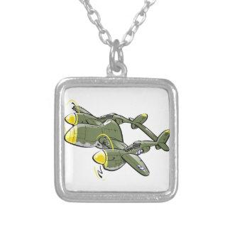 p-38 lightning square pendant necklace