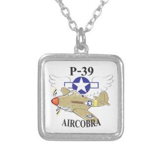 p-39 aircobra square pendant necklace