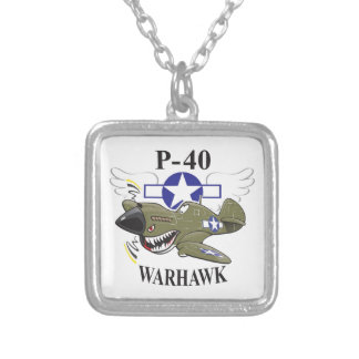 p-40 warhawk silver plated necklace
