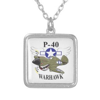 p-40 warhawk square pendant necklace