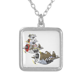 P-47 thunderbolt in formation square pendant necklace
