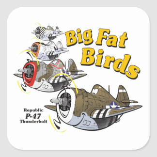 P-47 thunderbolt in formation square sticker