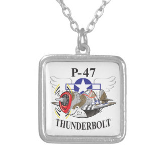 P-47 thunderbolt silver plated necklace