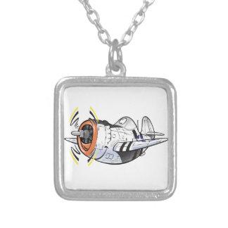 P-47 thunderbolt square pendant necklace