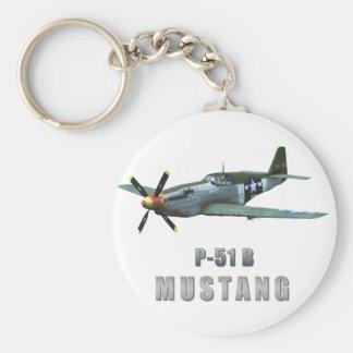 P-51 B Mustang Basic Round Button Key Ring