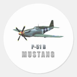 P-51 B Mustang Round Sticker