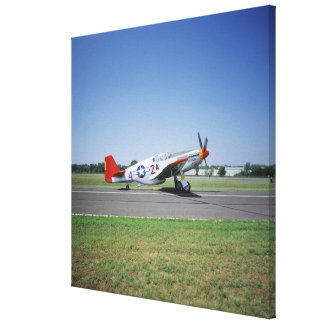 P-51 C Tuskegee Red Tail aeroplane at the CAF Air Stretched Canvas Print