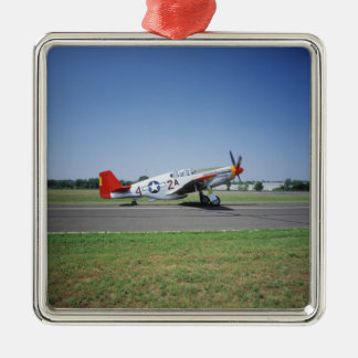 P-51 C Tuskegee Red Tail airplane at the CAF Air Christmas Ornament