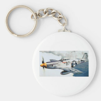 P-51 MUSTANG BASIC ROUND BUTTON KEY RING