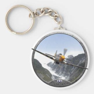 P-51 Mustang Basic Round Button Key Ring