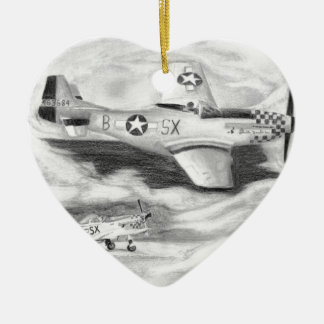 (P-51) Mustang Ceramic Heart Decoration