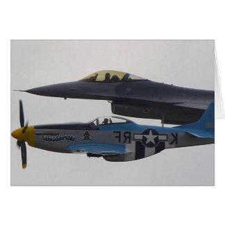 P-51 MUSTANG & F-16 EAGLE GREETING CARD