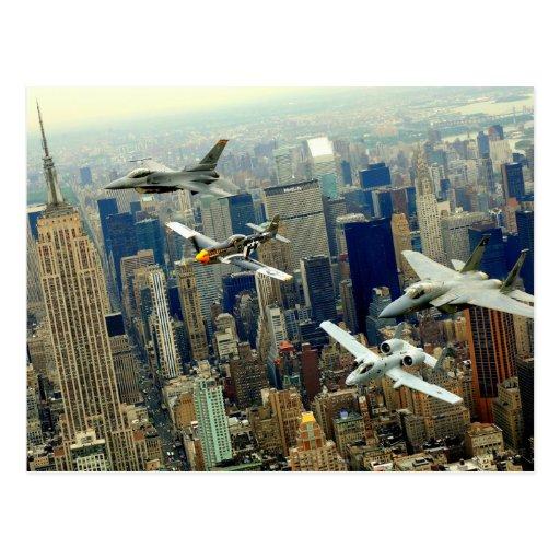 P-51 Mustang, F-16 Fighting Falcon, F-15 Eagle, Postcard
