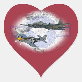 P-51 Mustang flying escort Heart Sticker