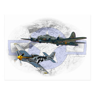 P-51 Mustang flying escort Postcard