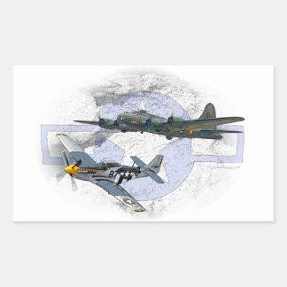 P-51 Mustang flying escort Rectangular Sticker