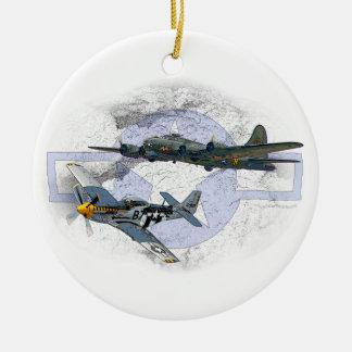P-51 Mustang flying escort Round Ceramic Decoration