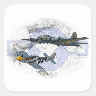 P-51 Mustang flying escort Square Sticker