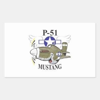 p-51 mustang rectangular sticker