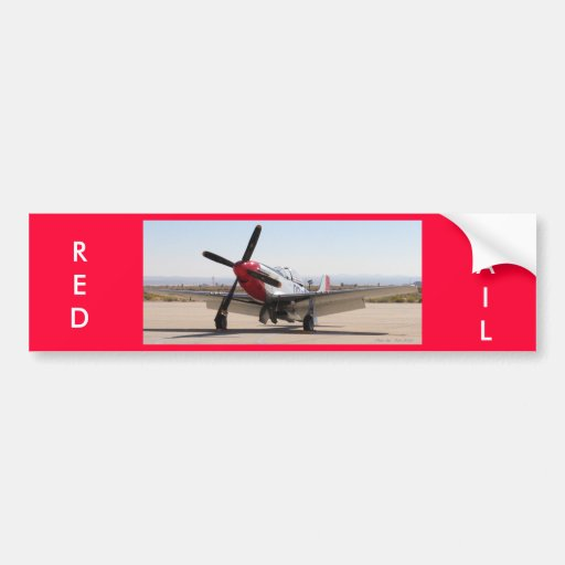 P-51 Mustang Red Tail, RED, TAIL Bumper Stickers