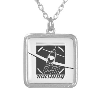 P-51 mustang silver plated necklace