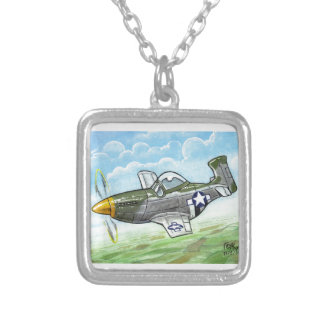p-51 mustang square pendant necklace
