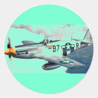 P-51 MUSTANG CLASSIC ROUND STICKER