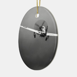 P-51 Mustang takeoff in storm Ceramic Oval Decoration