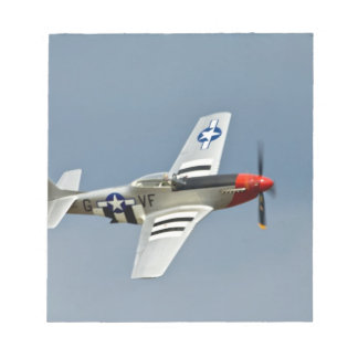 P-51D Mustang Fighter with D-Day markings flying Notepad