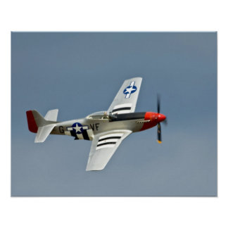 P-51D Mustang Fighter with D-Day markings flying Poster