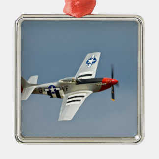 P-51D Mustang Fighter with D-Day markings flying Silver-Colored Square Decoration