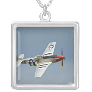 P-51D Mustang Fighter with D-Day markings flying Silver Plated Necklace