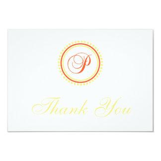P Dot Circle Monogam Thank You (Orange / Yellow) Invite