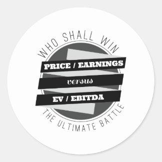 P/E Ratio versus EV/EBITDA Ratio Round Sticker