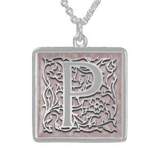 "P Initial Monogram ""Silver Stone"" Necklace Custom Jewelry"