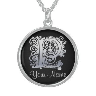 P Initial with Your Name Necklace Custom Jewelry